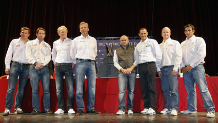 Skippers of the Louis Vuitton Trophy pose in Nice