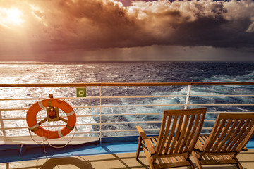 Watching sunset from cruise ship deck