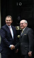 Britain's Prime Minister Blair meets his Australian counterpart Howard at Downing Street in London.