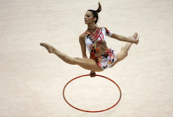 Spain's Almudena Cid performs during the individual hoop competition at the Rhythmic Gymnastics World Cup in Kiev