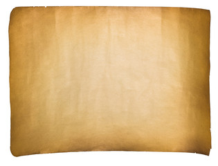 single old sheet of paper isolated on white background
