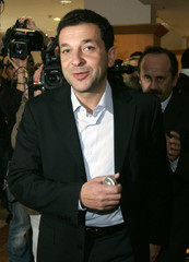 Catania football team president Pulvirenti arrives for a meeting with soccer clubs in Rome