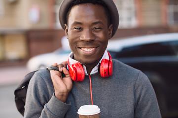 African american man walking in city