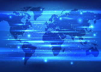 Blue global network background. World Map Points. Vector illustration