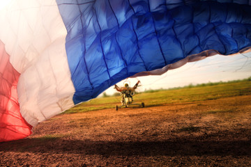 Foto auf AluDibond Luftsport Paramotor flying