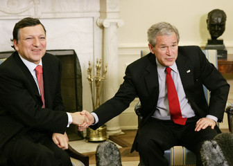 US President Bush meets with European Commission President Barroso at the White House in Washington