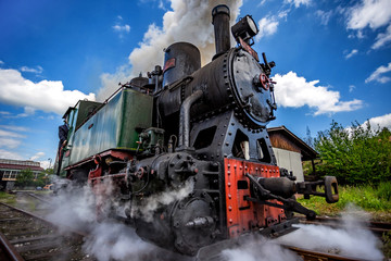 Vintage railway - old steam locomotive