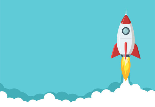 Rocket launch illustration. Business or project startup banner concept. Flat style illustration.