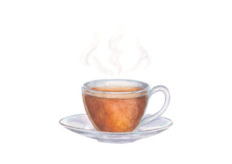 """Watercolor illustration of glass cup of tea with steam in the form of the inscription """"tea"""" on white background"""