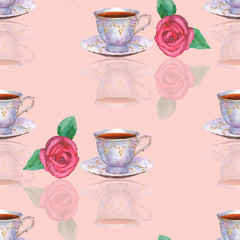 Seamless pattern with watercolor porcelain tea cups and roses on light pink  background
