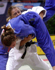 CLAUDIA HEILL FROM AUSTRIA FIGHTS ANDREIA CAVALLERI FROM PORTUGALDURING JUDO WORLD CHAMPIONSHIPS ...