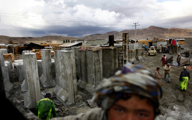 A general view shows a site producing concrete defence barriers in Kabul
