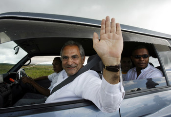 East Timor's Prime Minister Ramos-Horta waves during a presidential election campaign in Baucau
