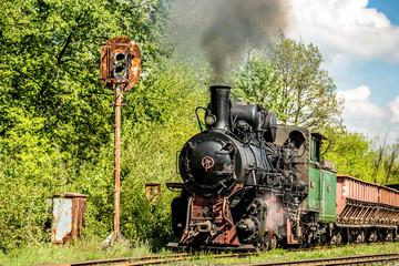 Vintage railway - old steam locomotive