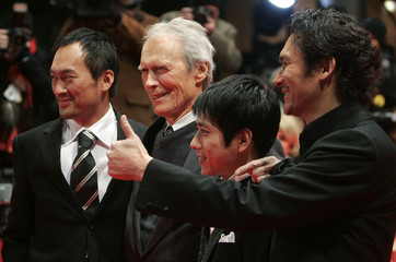 Actor Watanabe, director Eastwood, actor Ninomiya and actor Ihara arrive to screening the film 'Letters From Iwo Jima' running in competition at the 57th Berlinale International Film Festival in Berlin