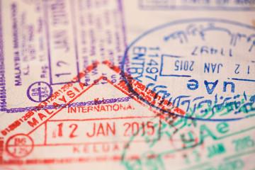 Visas on a passport.