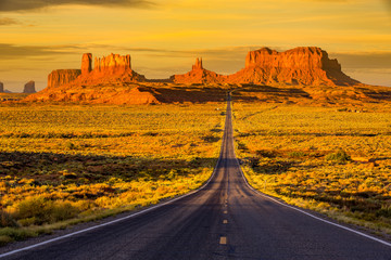 Wall Murals Deep brown Monument Valley at sunrise.