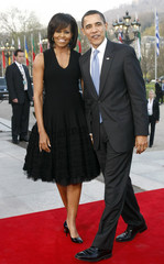 US President Obama and first lady Michelle Obama arrive for a cultural event at the Kurhaus in Baden-Baden