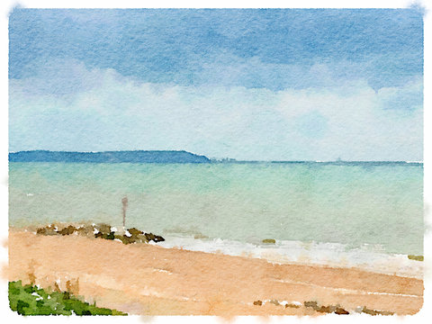 Digital watercolor painting of a beach and a blue green sea with a view of an island in the background. With space for text.
