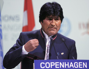 Bolivian President Evo Morales addresses a session of the United Nations Climate Change Conference 2009 in Copenhagen.