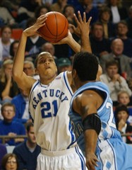 KENTUCKY TAYSHAUN PRINCE HIT HIS FIRST FIVE THREE POINT SHOTS IN A ROWOVER NORTH CAROLINA.