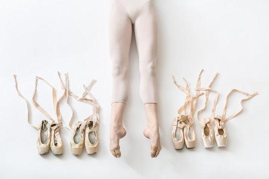 Ballerina lies in studio