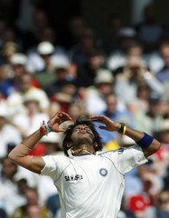 India's Sreesanth reacts during the fourth day of their second test cricket match against England at Trent Bridge in Nottingham