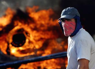 Izar shipyard worker takes a break during a protest in San Fernando.