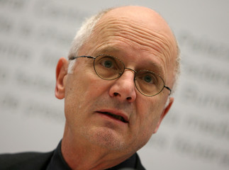 ERK president Kreis looks on during a news conference in Bern