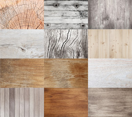 Collection of wooden textures for background.