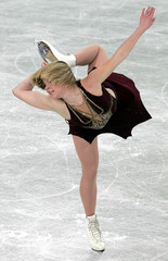 Sokolova from Russia performs during World Figure Skating Championships in Moscow.