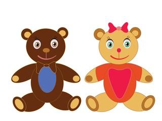 Cartoon teddy bear objects isolated