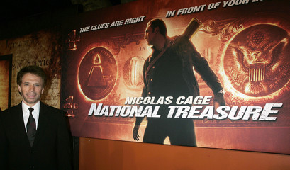 """Producer Jerry Bruckheimer poses at premiere of his new action film """"National Treasure"""" in California."""