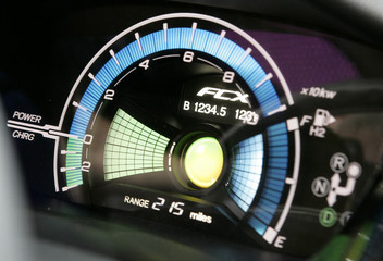 Detail of the dashboard of the Honda's FCX Clarity fuel cell vehicle is seen after it was unveiled during the Los Angeles Auto Show in Los Angeles