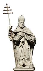 Aluminium Prints Historic monument Pope Sylvester I statue (isolated on white background)
