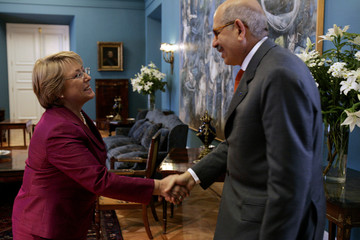 Chile's President Michelle Bachelet shakes hands with IAEA Director General Mohamed ElBaradei at the Government Palace in Santiago