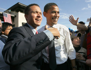 U.S. Senator Barack Obama (D-IL) campaigns with Democratic U.S. Senate candidate Harold Ford Jr. during a rally in downtown Nashville.