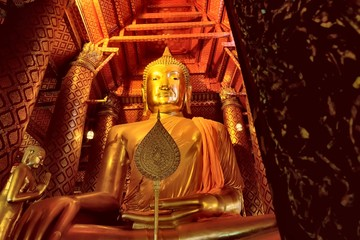 Ancient golden buddha, The ancient golden buddha statue or ancient golden buddha image in public temple background