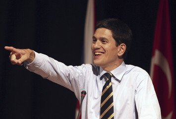 Britain's Foreign Secretary David Miliband gestures during conference in Istanbul
