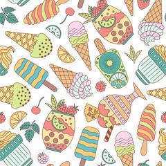 Seamless pattern of ice cream.