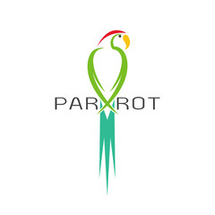 Vector of a parrot design on white background. Bird Icon