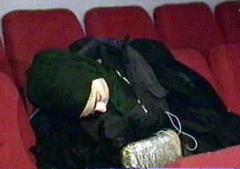 DEAD FEMALE HOSTAGE-TAKER SEEN INSIDE MOSCOW THEATRE.