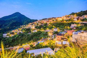 Spoed Foto op Canvas Groen blauw Jiufen village a mountain village in Taipei which is famous for teahouses in Taipei, Taiwan