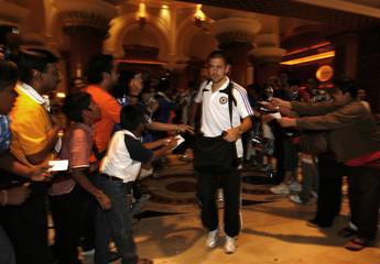 Chelsea's Joe Cole arrives at a hotel in Kuala Lumpur
