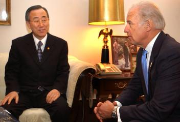 South Korean Foreign Minister Ban Ki-Moon sits down to meeting with Sen. Joe Biden.