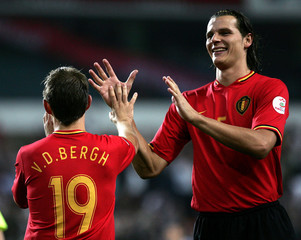 Belgium's Kevin Vandenbergh celebrates his goal against Azerbaijan with team mate Daniel Van Buyten during their Euro 2008 Group A qualifying soccer match at the Constant Vanden Stock in Brussels