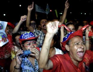 SUPPORTERS OF VENEZUELAN PRESIDENT CHAVEZ CELEBRATE EXIT POLLS.