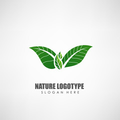 Nature leaves concept logo template. Label for natural products, eco culture, and other. Vector illustration