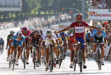 Freire of Spain crosses the finish line to win the second stage of the Tour of Spain cycling race in Santiago of Compostela