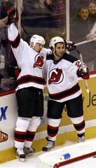 DEVILS SCORE AGAINST OTTAWA IN GAME FOUR OF NHL PLAYOFF SERIES.